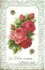 Carte Dentelée Avec Ajout D'un Bouquet De Roses Collé - Cartoline