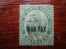 ST. KITTS-NEVIS 1916  OVERPRINTED WAR TAX On 1/2 D Green USED. - St.Kitts And Nevis ( 1983-...)