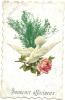 Carte Avec Collage D´une Colombe Portant Une Rose Avec Feuillage - Souvenir Affectueux - Autres