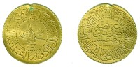 TURKEY, Abdul Hamid II - 50 Kurush Gold AH 1293 Yr.33 (1907) DeLuxe - KM#740 Y#C40XF, Ex-mount - Turkey