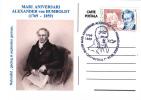 Postcard ROMANIA 2009,German Naturalist ALEXANDER Von HUMBOLDT And Geolog 1769-1859,anniversary CLUJ NAPOCA,unused  I - Geology