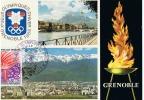 CARTE PREMIER JOUR FRANCE 1968 JO DE GRENOBLE LE FLAMBEAU - Invierno 1968: Grenoble