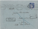 ENV  ANTIBES POUR NICE GRIFFE FORT CARRE 1939 - Postmark Collection (Covers)