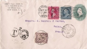 ENV DE NEW YORK POUR REIMS TAXEE 50ctmes 1896 - Postmark Collection (Covers)