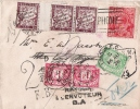 ENV D AUSTRALIE TAXEE LONDRES ET PARIS  1928 - Postmark Collection (Covers)