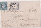 DOUBLE AFFRCHISSEMENT 1872 METZ PARIS ETRANGER - Postmark Collection (Covers)