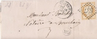 BOUCHAIN NORD  LAC  LOCALE NO 55 1874 OR DOUCHY - Postmark Collection (Covers)
