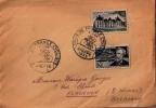 Lettre :2 Timbres Francais30F,Jules Vernes Et 18F,Cheverny,avec Oblit Du Tour De France Dieppe 1955 - Ciclismo
