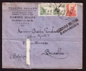 Censura Militar ZARAGOZA - Lettre De Zaragoza  Vers Bruxelles - 1937. - Marcas De Censura Nacional
