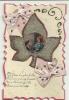 Carte Kitche Avec Collage D´un Couple Dans Une Feuille Saupoudrée Brillante Et Noeuds En Tissu - Autres