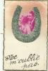 """Carte Kitche Avec Collage D´un Couple Dans Un Fer à Cheval Saupoudré Brillant Vert  """"ne M'oublie Pas"""" - Autres"""