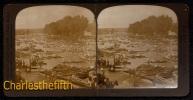 FIN 1800 VUE STEREOSCOPIQUE HENLEY ENGLAND - REGATTA - AFTER THE RACE - Fold In The Middle ! - Photos Stéréoscopiques