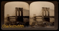 VUE STEREOSCOPIQUE !! - NEW YORK - BROOKLYN BRIDGE - VUE ON QUAKER OATS - PERFECT CONDITION PARFAIT! - Photos Stéréoscopiques