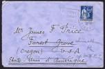 1934  Paix 1,50fr Seul Sur Lettre Pour Les USA  Yv 288  Daguin Aubert, Somme - Postmark Collection (Covers)
