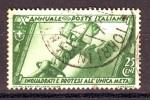REGNO 1932 N.329 MARCIA SU ROMA  25c. VERDE USATO 1 VALORE - Oblitérés