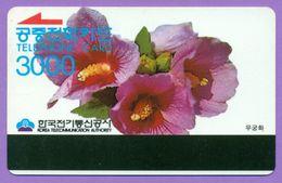 """Télécarte Corée °° Magnet  Recto  3000 U   """"  Fleurs  """"  Souple T  B  E - Corée Du Sud"""