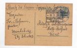 RARE - Entier Germania Gouv.Général Utilisé Aux Etapes - 2 Censures, Dont 4è Armee Avec Aigle - Origine TIELT  -- DT224 - Guerre 14-18