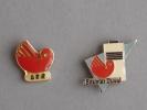 Lot De 2 Pin´s Saunier Duval: Un Logo GER Et Un Avec Chaudière. Voir 3 Photos. - Badges