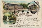 Gruss Aus Hanau , Kurhaus Wilhelmsbad , Stadttheater , Weiher Im Altstädter Schlosspark Voyagé En1901 - Hanau