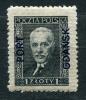 """Poland 1933 Sc 1K24 Mi 25 MLH Overprint """"PORT GDANSK"""" Pres Moscicki CV 150 Euro - Unused Stamps"""