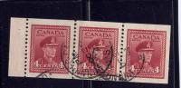 CANADA #254b, King Georges VI-  1942-43,  Pane Of 3 Stamps Fine   Used - 1937-1952 Règne De George VI