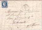 ARDECHE-LES VANS-N°60 OBLITERATION GC4096 + CACHET A DATE TYPE 16 DU 5 MARS 1876 - ADRESSE DECOUPE. - 1849-1876: Classic Period