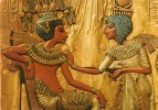 EGYPTE-Egypt-Cairo-Caire- Egyptian  Museum-Scene On The Back Of King Tut Ankh Amen´s Throne (Tutankhamon) - Cairo