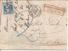 LETTRE,COVER,LYON GC Yv 60,Alsace,St LOUIS,13/1/1873,TAXE Bleue 2 Déc.Affranchissement Insuffisant,TB Facture - 1871-1875 Ceres
