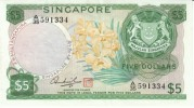 Singapore #2d, 5 Dollars, 1973 Banknote Currency - Singapore
