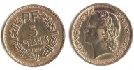 ** 5 FRANCS LAVRILLER BRONZE  1940 ETAT TTB+ **5FR42** - France