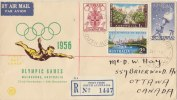 AUSTRALIA 1956 Registered FDC Olympic Games To CANADA. - Sobre Primer Día (FDC)