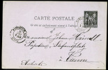 Ganzsache  Postkarte  Mi.N°P 1  Yvert N° 89cp1,jetzt  Mit 3 Anschriftlinien, Gelaufen Von Paris Nach Wien Österreich  Am - 1898-1900 Sage (Type III)