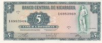 EF 1972 Nicaragua 5 Cordobas Note, Series C, Pick 122a - Nicaragua