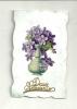 Carte Nacré Avec Vase De Violettes Collé - Cartes Postales