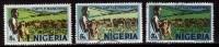 3 Diff., Colour Variety, Nigeria Used 1973, 5k Catttle Ranch, Farm Animals - Nigeria (1961-...)