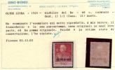 OLTRE GIUBA 1925 - 1966 GIUBILEO DEL RE CENT. 60c DENT 13 1/2 PERF  MH CERTIFICATO - Oltre Giuba