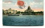 """Ancienne Cp """" St. Pétersbourg, Quai De L'Amirauté """" Avec Valeur Et  Cachet 1908 ??? - Russia"""