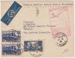 POSTE AERIENNE FRANCE-ETATS UNIS - 1938 - LETTRE De PARIS Pour NEW YORK - Poste Aérienne