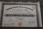Comptoir Franco-anglais D'exportation-Paris Le 5 Avril 1919 Scripophilie-Titre-Action 100 Fr. Porteur - Tourisme