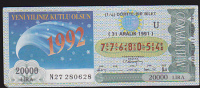 Lottery - Turkey - Turkiye - Yeni Yiliniz Kutlu Olsu 1992 - Lottery Tickets