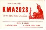 Indien, Calumet De La Paix, Peace Pipe  Sur QSL De Plymouth (Mass) - De Edwin Keller, South St., KMA 2028, Vers 1970 - CB