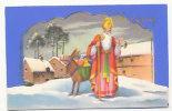 Saint Nicolas Et Son âne. Paillettes. Effet De Relief - Santa Claus