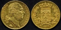 *** 20 FRANCS OR GOLD LOUIS XVIII 1817 A ***