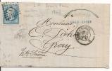 LP LYON à PARIS  DEPART GARE DE VAISE  28 SEPT 1867 Pour  GRAY - LOT 41-LETTRE-VARIETE - 1849-1876: Klassik