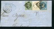 =*= Cote: 865 EUR Affranchissement 6 Septembre 1871 Lauré 25+Siège 37+Bordeaux 41 (trés Beau) Sur Grand Fragment =*= - 1849-1876: Classic Period