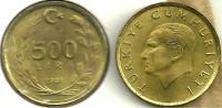 TURKEY 500 LIRA LEAVES FRONT MAN HEAD BACK 1991 EF KM989 READ DESCRIPTION CAREFULLY !!! - Turquie