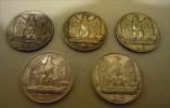 COMPLET SET 5 LIRE 1926\1930 SILVER MUZEN &  2 MUZEN RARE - 1900-1946 : Victor Emmanuel III & Umberto II
