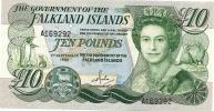FALKLAND ISLANDS 10 POUNDS GREEN QEII HEAD FRONT BUILDINGS BACK DATED 01-09-1986 UNC P. 14a  READ DESCRIPTION!!!!! - Falkland