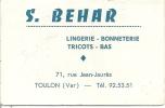 TOULON -S.BEHAR- Lingerie-bonneterie-tricot-bas- Calendrier 1966 à L'intérieur - Toulon