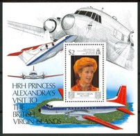 1989 British Virgin Island Visita Di S.A.R. Principessa Alexandra Aerei Aircraft Avions Block MNH** C50 - British Virgin Islands